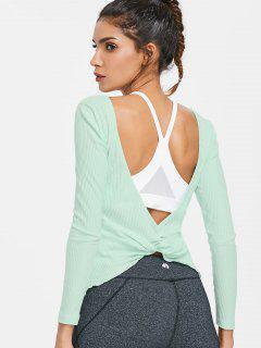 Twisted Open Back Ribbed Long Sleeve Tee - Mint Green M