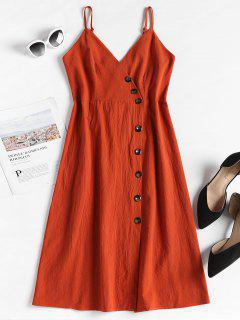 Smocked Back Button Up Dress - Bright Orange S