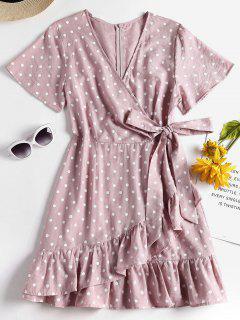 Knotted Ruffles Polka Dot Dress - Lipstick Pink L