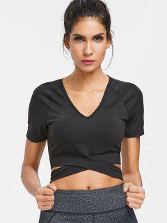 Padded Cropped Wrap Around Gym T-Shirt - Black S