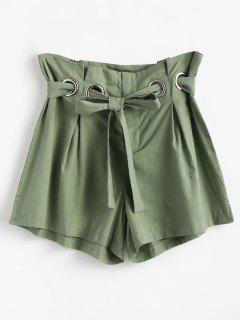 High Waist Belted Shorts - Frog Green S
