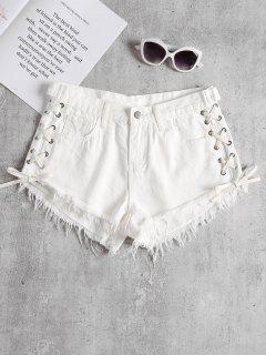 Lace Up Cutoffs Shorts - White S