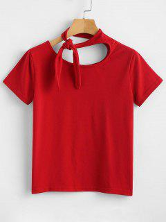 Camiseta De Manga Corta Con Nudo Anudado - Amo Rojo M