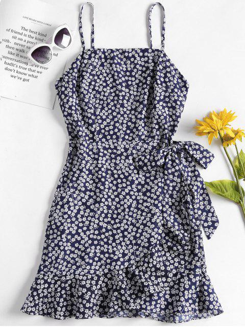 Überlappung Minikleid Mit Blumen-Rüschen - Dunkles Schieferblau L Mobile