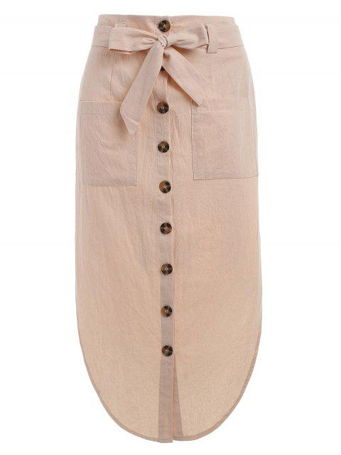 affordable Button Up Belted Skirt - APRICOT XL Mobile