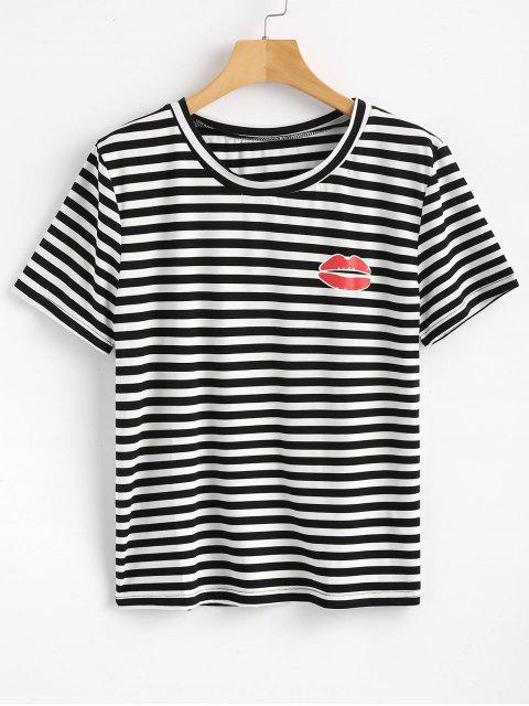T-shirt à Rayures et avec Motif de Lèvres - Noir M Mobile