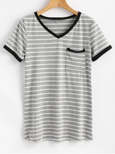 chic Striped Pocket Tee - GRAY L Mobile