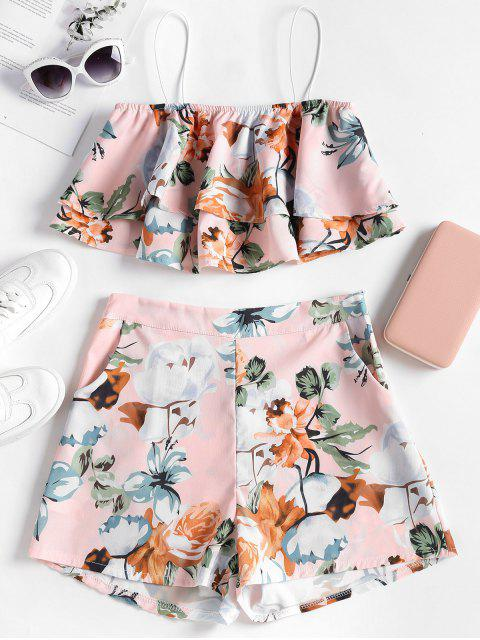 Haut Floral Superposé avec Short en Ensemble - Chewing-Gum Rose  L Mobile