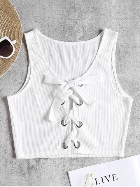 fashion Ribbed Lace Up Tank Top - WHITE M Mobile