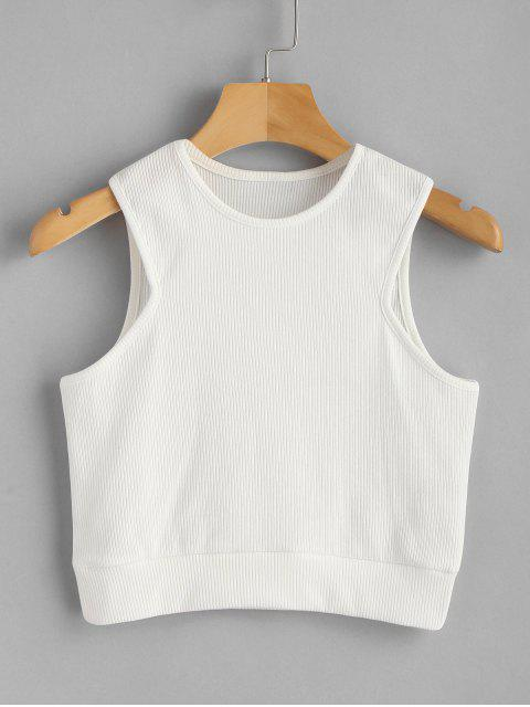 unique Crop Ribbed Tank Top - WHITE M Mobile