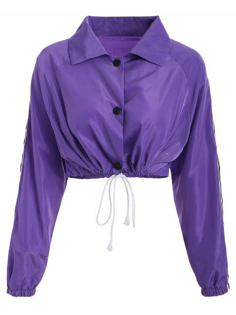 lady Stripes Patched Drawstring Jacket - LOVELY PURPLE M Mobile