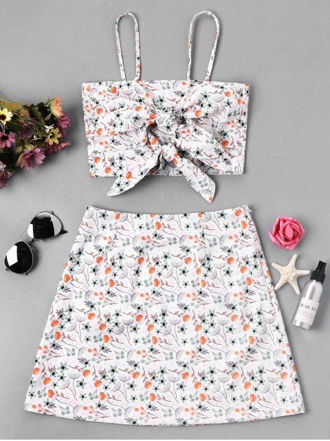 trendy Knot Floral Cami Crop Top and Skirt - WHITE XL Mobile