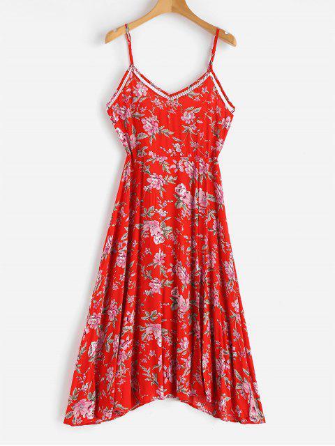 sale Floral Print Cami Midi Tea Dress - LOVE RED XL Mobile