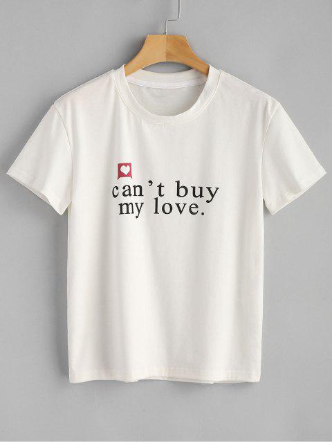 buy Cant Buy My Love Graphic Tee - WHITE S Mobile