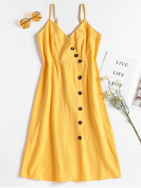 affordable Smocked Back Button Up Dress - RUBBER DUCKY YELLOW S Mobile