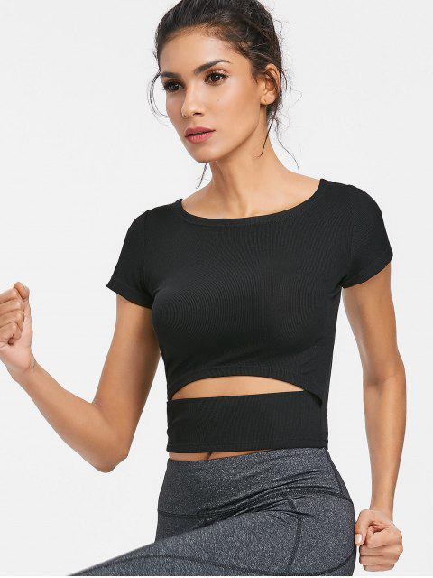 hot Rib Knit Cutout Gym Workout T-Shirt - BLACK M Mobile