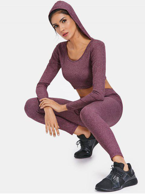 Sweat à capuche en maille côtelée et leggings Sweat Suit - Prune Velours L Mobile