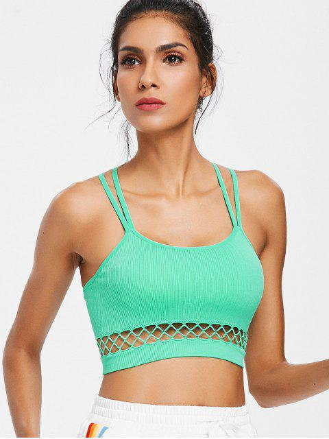 trendy Seamless Cut Out Strappy Sports Bra - AQUAMARINE L Mobile