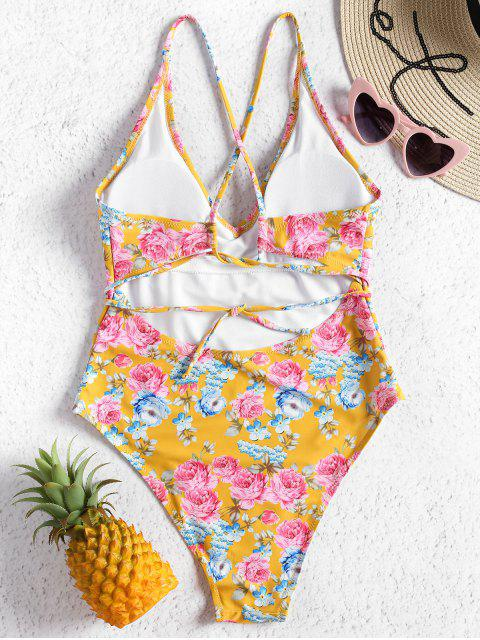 sale Floral Self Tie High Cut Swimsuit - GOLDEN BROWN S Mobile