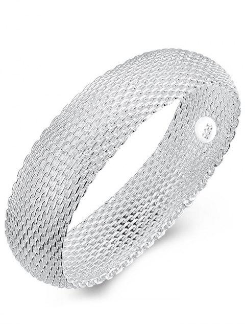fashion Retro 925 Sterling Silver Chains Mesh Bangle Bracelet - SILVER  Mobile