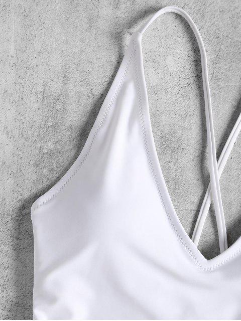 trendy Self Tie Cross Back High Cut Swimsuit - WHITE S Mobile