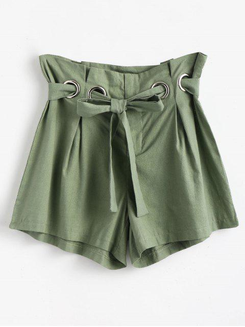 online High Waist Belted Shorts - FROG GREEN XL Mobile