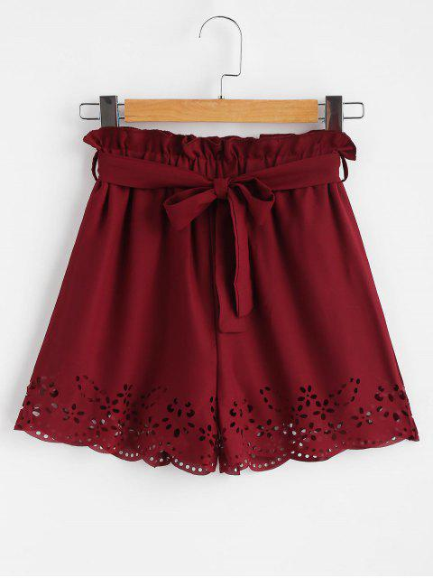 best Belted Laser Cut High Waisted Shorts - RED WINE M Mobile