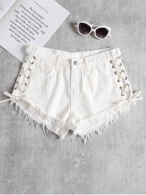 lady Lace Up Cutoffs Shorts - WHITE M Mobile