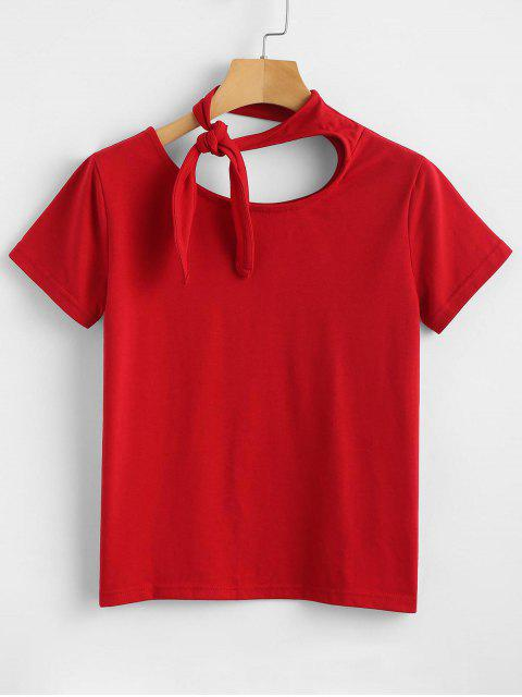 sale Knot Tied Short Sleeve Tee - LOVE RED M Mobile