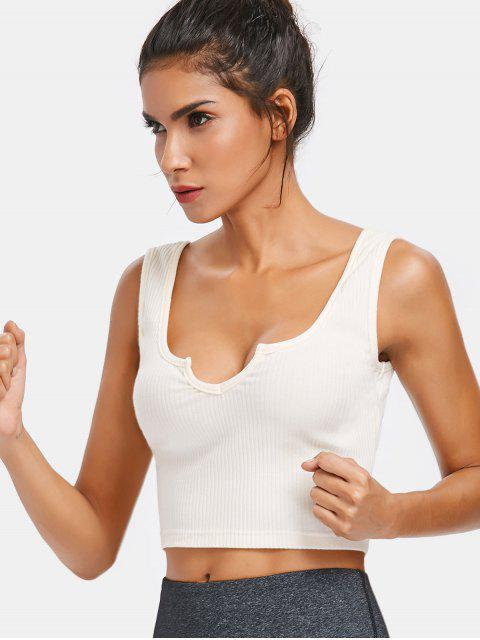 trendy Ribbed Scoop Crop Tank Top - WARM WHITE L Mobile