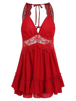 Tier Ruffles Openwork Mini Dress - Love Red M