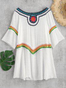 ملون الكروشيه إدراج التستر اللباس - أبيض