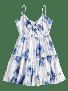 De M Vestido Volantes Flores Blanco De Cami Mini ROxqawBZ