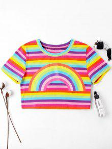 Multicolor S Rainbow a Crop Camiseta RUq1n