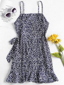 Oscuro Vestido Azul De Volantes M Florales Con Superpuestos Pizarra Mini PRd8CqC