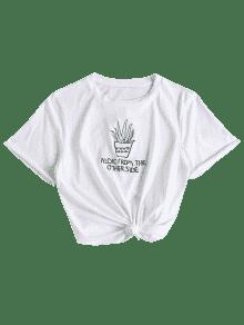 Anudada Bordada Bordada Camiseta Blanco Blanco Camiseta M Anudada WBqRw8PX