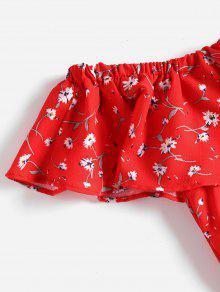 Vestido Rojo Hombros Mini De Sin S Volantes FwqTF1U