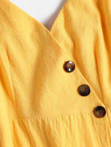 M Caucho Botones La A Smocked Con Ducky Vestido Amarillo Espalda 5zq7wYZx