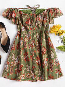 Verde Camuflaje Encaje Hombro Vestido Mini Hasta De L El nYEa0