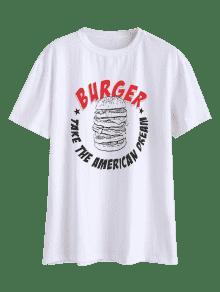 S Burger Tee Loose Blanco Print 7zwzXqHx4