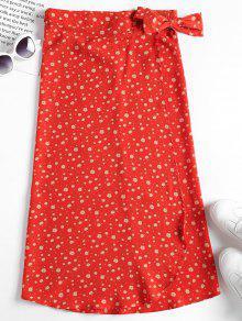 زهرة التفاف تنورة ميدي - برتقالية زاهية L
