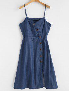 Vestido Cami S Pierna Botones Media Con Azul A RwRFvH