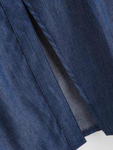 Azul Con Pierna Media Botones A Cami Vestido S IYxzwq
