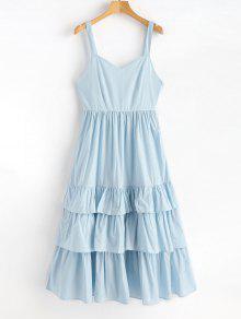فستان مكسي كشكش - روبن البيض الأزرق L