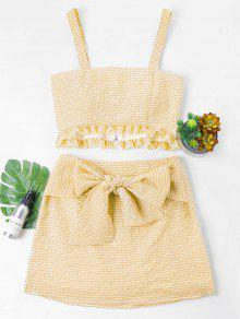 Gingham Top و Bow Skirt Set - الأصفر S