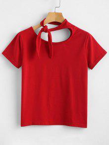 Manga Nudo De Con Rojo Anudado Camiseta Amo M Corta 51vqxqwp