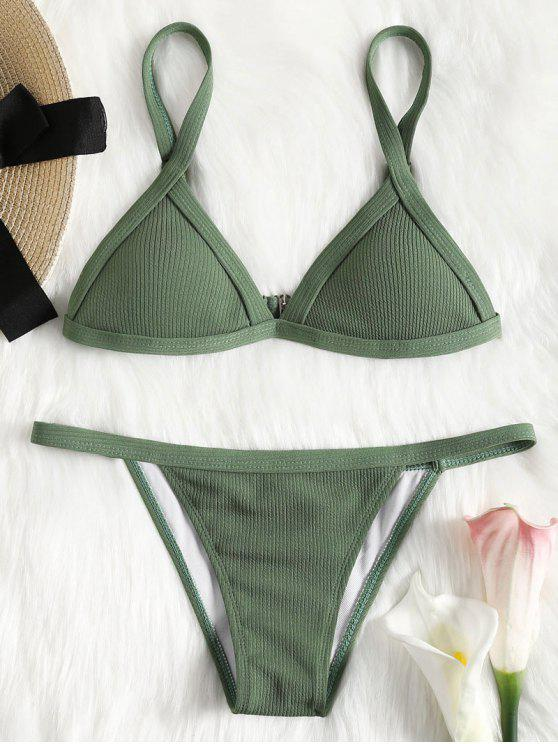 online Ribbed Texture String Bikini Set - GREEN S
