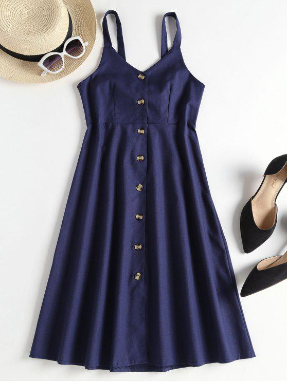 shop A Line Button Up Pinafore Midi Dress - DEEP BLUE ONE SIZE