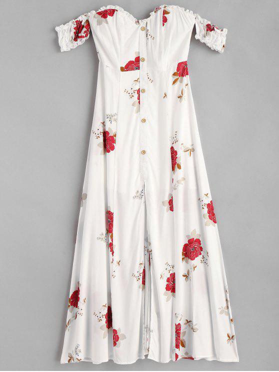 hot Slit Off Shoulder Floral Dress - WHITE S