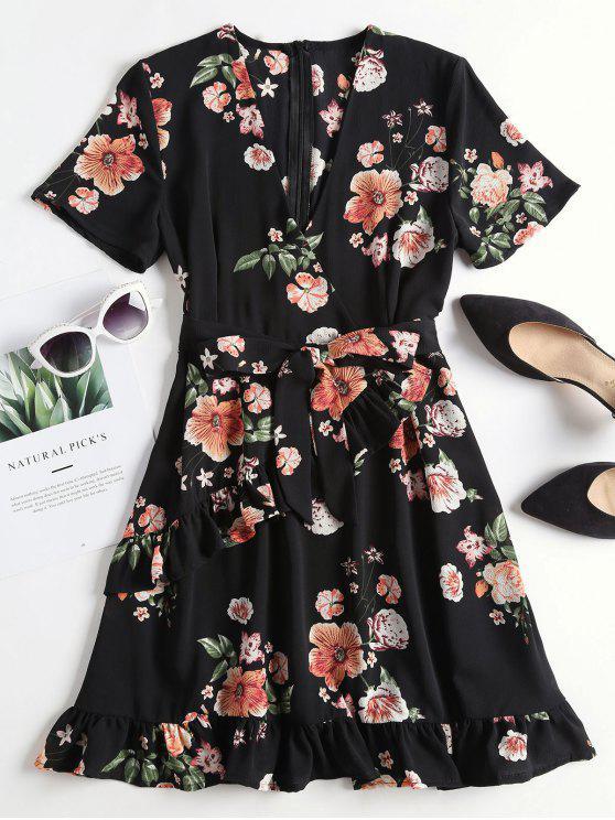 shops Floral Print Ruffled Surplice Tea Dress - BLACK L